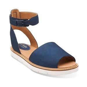 Clarks Lydie Hala Ankle Strap Sandal Blue sz 6